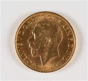 1914 British Gold Sovereign Coin