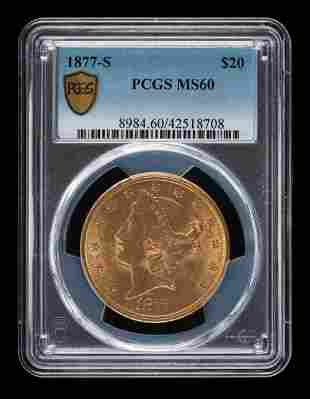 877-S $20 Double Eagle PCGS MS60