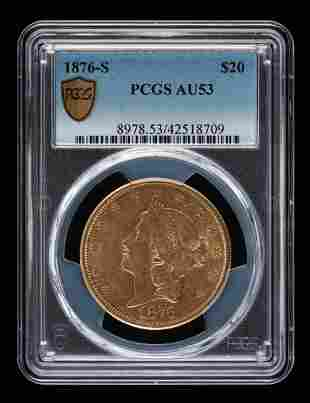 1876-S $20 Double Eagle PCGS AU53