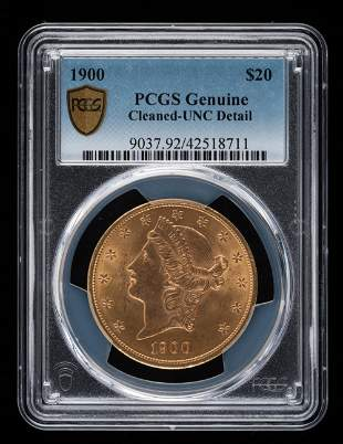 1900 $20 Double Eagle PCGS UNC Genuine Cleaned