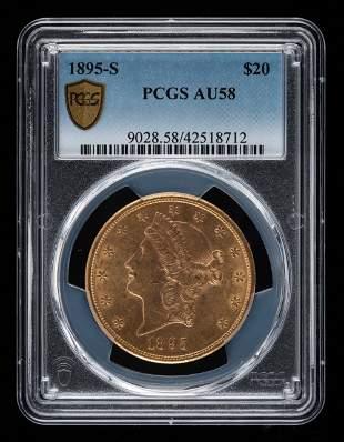 1895-S $20 Double Eagle PCGS AU58