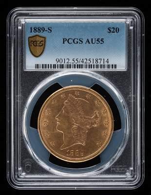 1889-S $20 Double Eagle PCGS AU55