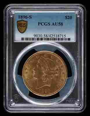 1896-S $20 Double Eagle PCGS AU58