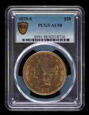 1879-S $20 Double Eagle PCGS AU58