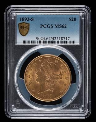 1893-S $20 Double Eagle PCGS MS62