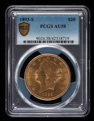 1893-S $20 Double Eagle PCGS AU58