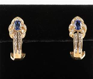 14K Tanzanite & 1 CTW Diamond Earrings