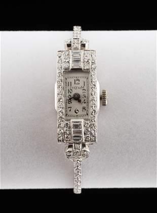 Art Deco Platinum & 1.4 CTW Diamond Wristwatch