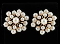 Pair 14k Mikimoto Pearl Cluster Earrings