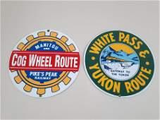 2 Porcelain Railway Signs incl Pike Peak