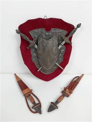 Miniature Armor / Sword Plaque and 2 Dirks