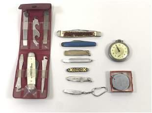 15 Pcs Pocket Knives & Compass
