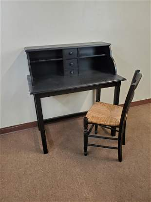 Writing Desk with Rush Seat Chair
