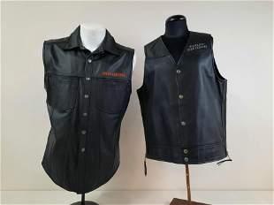 2 Medium Harley Davidson Leather Vests