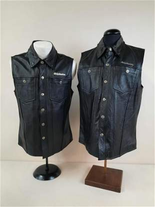 2 Small Harley Davidson Leather Vests