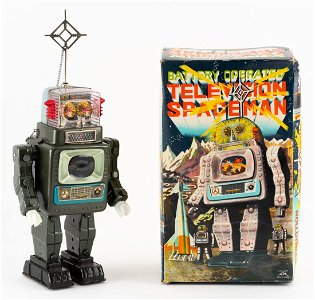 Battery Operated Television Spaceman Robot in OB