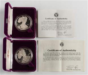 2 Proof American Silver Eagles 1986-S & 1987-S