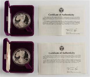 2 Proof American Silver Eagles 1988-S & 1989-S