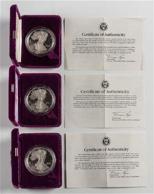 3 Proof American Silver Eagles 1990 and 1991