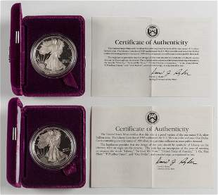 2 Proof American Silver Eagles 1992-S & 1993-P