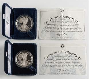 2 Proof American Silver Eagles 1995-P & 1996-P