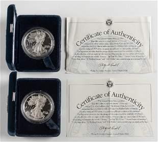 2 Proof American Silver Eagles 1997-P & 1998-P