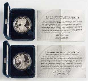 2 Proof American Silver Eagles 2005-W & 2006-W