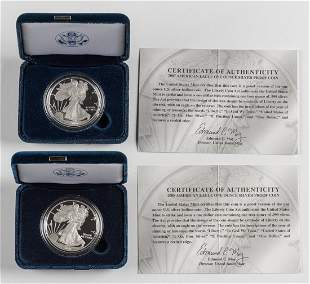 2 Proof American Silver Eagles 2007-W & 2008-W