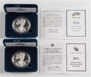 2 Proof American Silver Eagles 2010-W & 2011-W