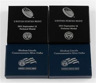 4 U.S. Commemorative Silver Dollar Coins