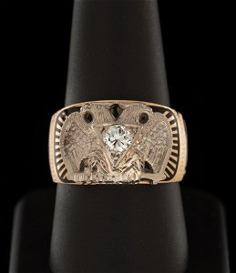 14K 32nd Degree Masons Double Headed Eagle Ring