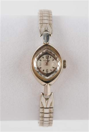 Vintage Ladies Bulova 10K White Gold Wrist Watch