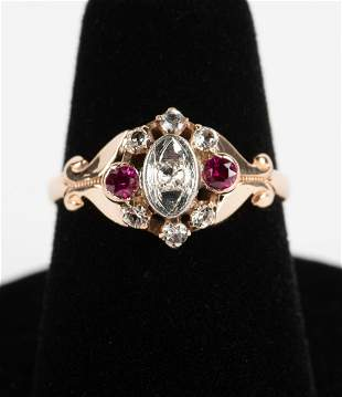 Victorian 9k .15 CTW Diamond & Ruby Ring