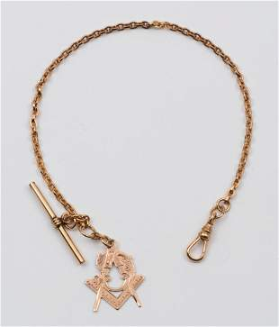 Victorian Gold Watch Chain with Masonic Fob