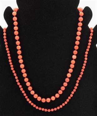 2 Vintage Coral Bead Necklaces
