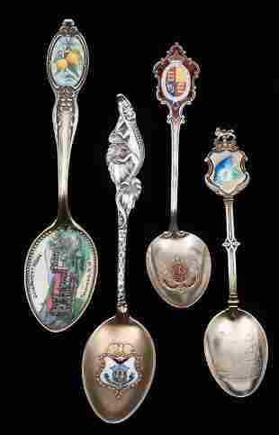 4 Sterling & Enamel World Souvenir Teaspoons