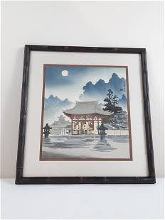 "Tokiki Tomischiro ""Imperial Temple"" Woodblock"