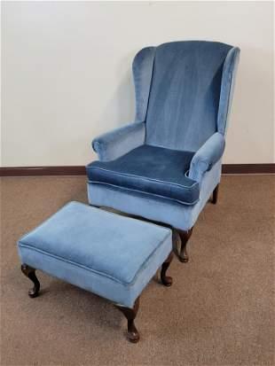 Blue Wingback Chair & Ottoman