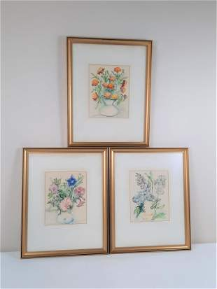 3 Dorothy S. Floral Still Life Watercolors