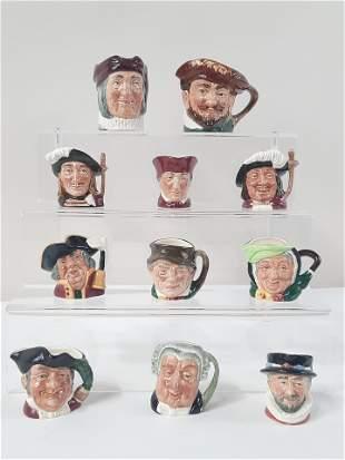 11 Royal Doulton Toby Mugs incl Miniatures