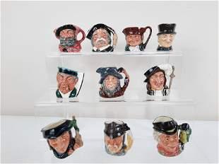 10 Miniature Royal Doulton Toby Mugs