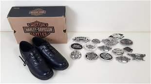 Harley-Davidson Shoes and 15 Belt Buckles