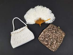 2 Beaded Purses and Feather Fan