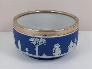 Wedgwood Bowl with Silverplate Rim