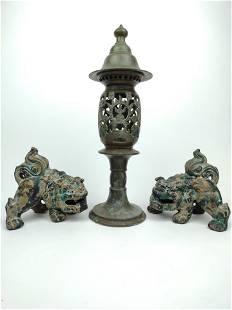 Bronze Censer & Pair Cast Iron Foo Dogs