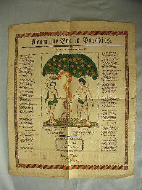 1: C 1820-40 HC Adam & Eve in Paradise Broadside