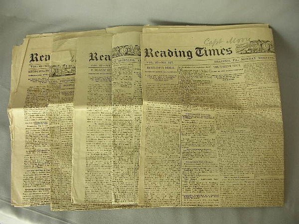 12: 5 Reading PA Papers Battle of Little Bighorn