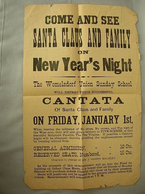 19: C 1900 Womelsdorf Santa Claus Pageant Broadside