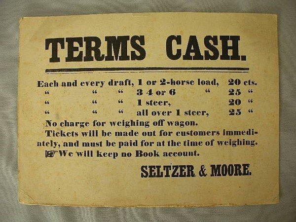 20: C 1880-90 Seltzer & Moore Scale Broadside