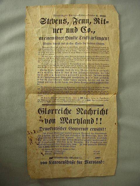 21: 1838 PA German Political Broadside Reading Adler